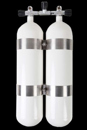 ecs, 2x 10 L Doppelgerät / 300 bar Stahlflaschen mit Absperrbrücke 14mm Abstand