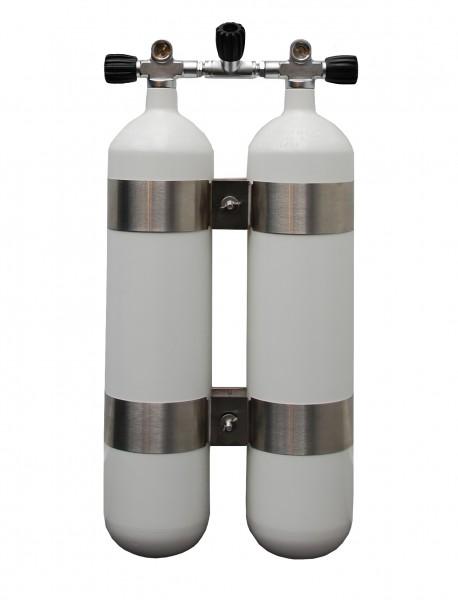 Faber, 2x 7 L / 200 bar leichte Doppelgeräte mit Absperrbrücke Weiß 40mm Abstand