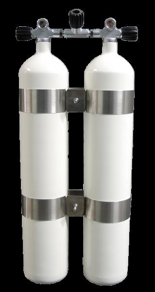 ecs, 2x 8 L Doppelgerät / 300 bar Stahlflaschen mit Absperrbrücke 40mm Abstand