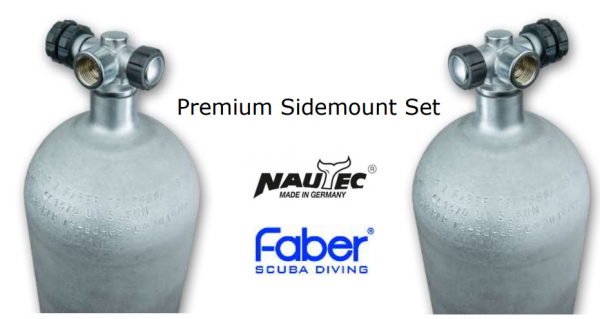 Faber, 12 L Sidemount Premium Set LI/RE 200 bar Stahl mit Nautec Ventilen (Hot Dipped)