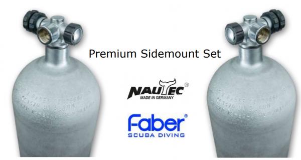 Faber, 12 L Sidemount Premium Set LI/RE 200 bar Stahll mit Nautec Ventilen (Hot Dipped)
