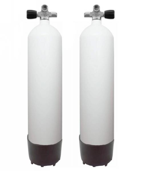 Faber, 7 L Sidemount Set LI/RE 200 bar Stahlflaschen (Weiß)